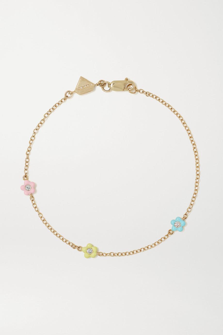 Alison Lou Mini Flower By The Yard Armband aus 14 Karat Gold mit Diamanten und Emaille