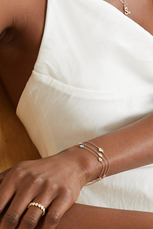 Alison Lou Mini Flower By The Yard 14-karat gold, diamond and enamel bracelet