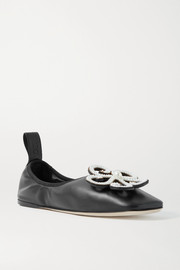 Loewe Faux pearl-embellished leather ballet flats