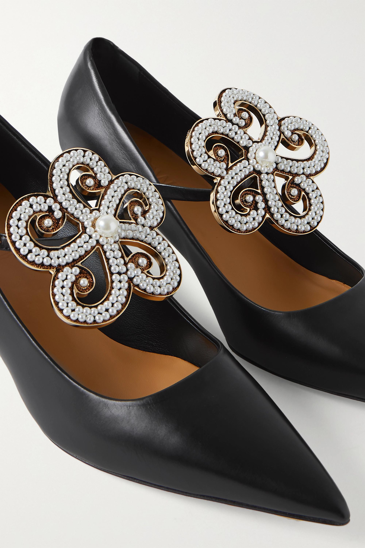 Loewe Faux pearl-embellished leather pumps