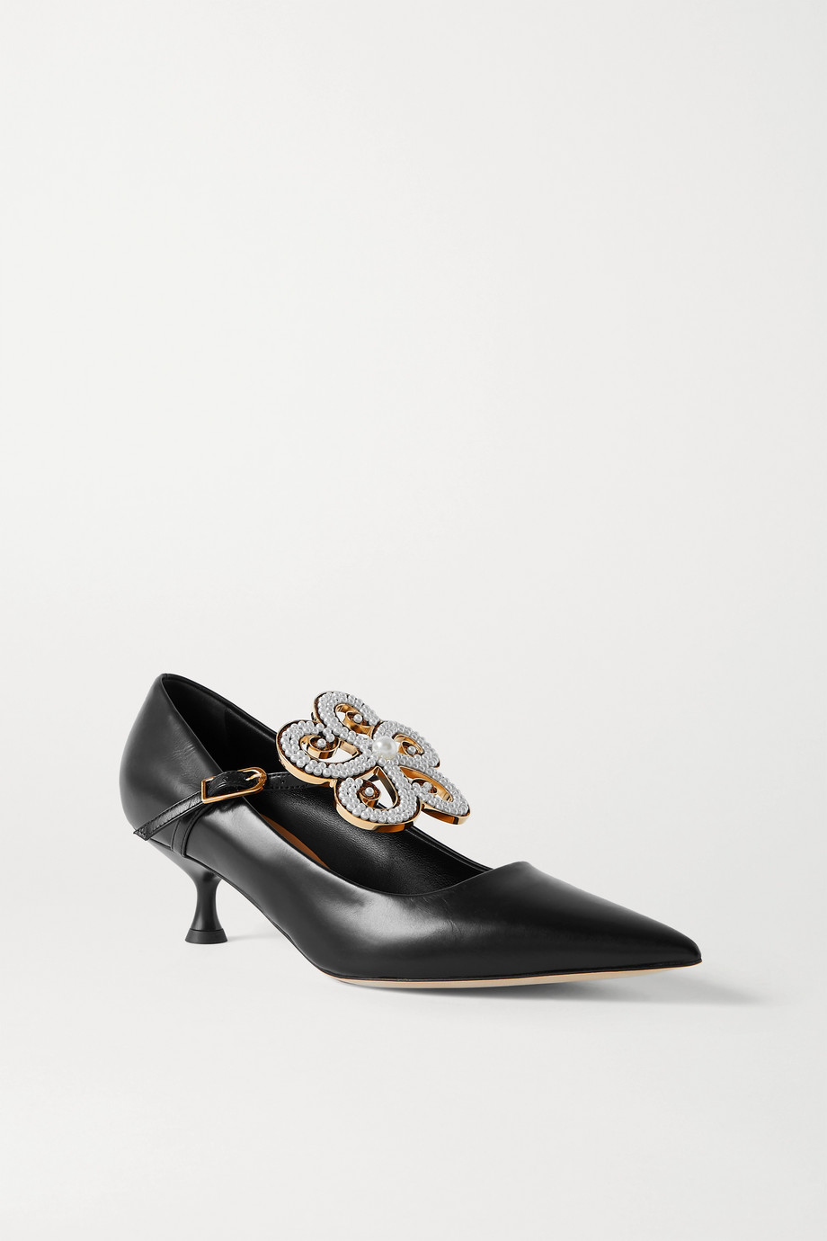 Loewe Faux pearl-embellished leather pumps