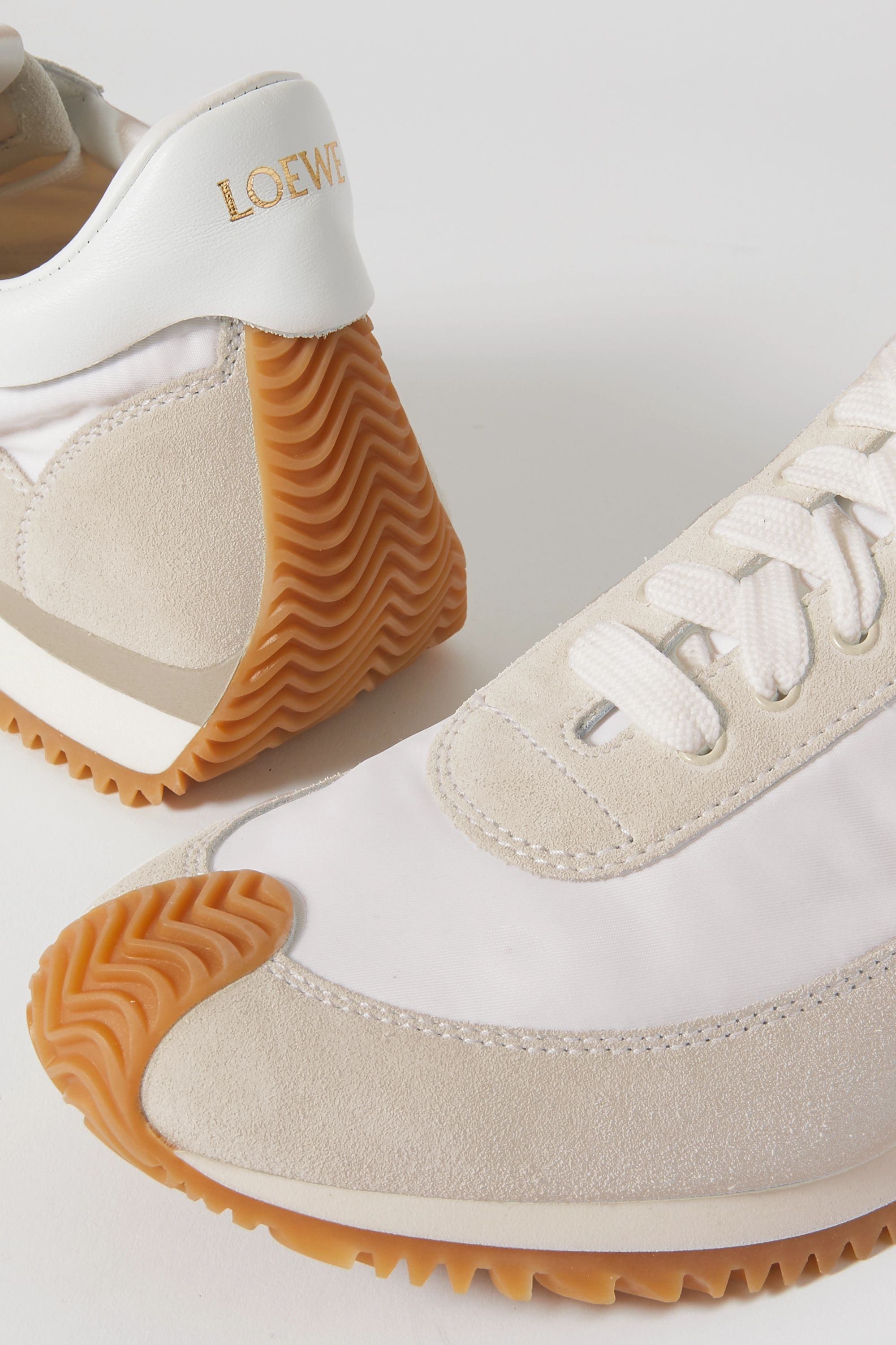 Loewe Flow suede, shell and leather sneakers