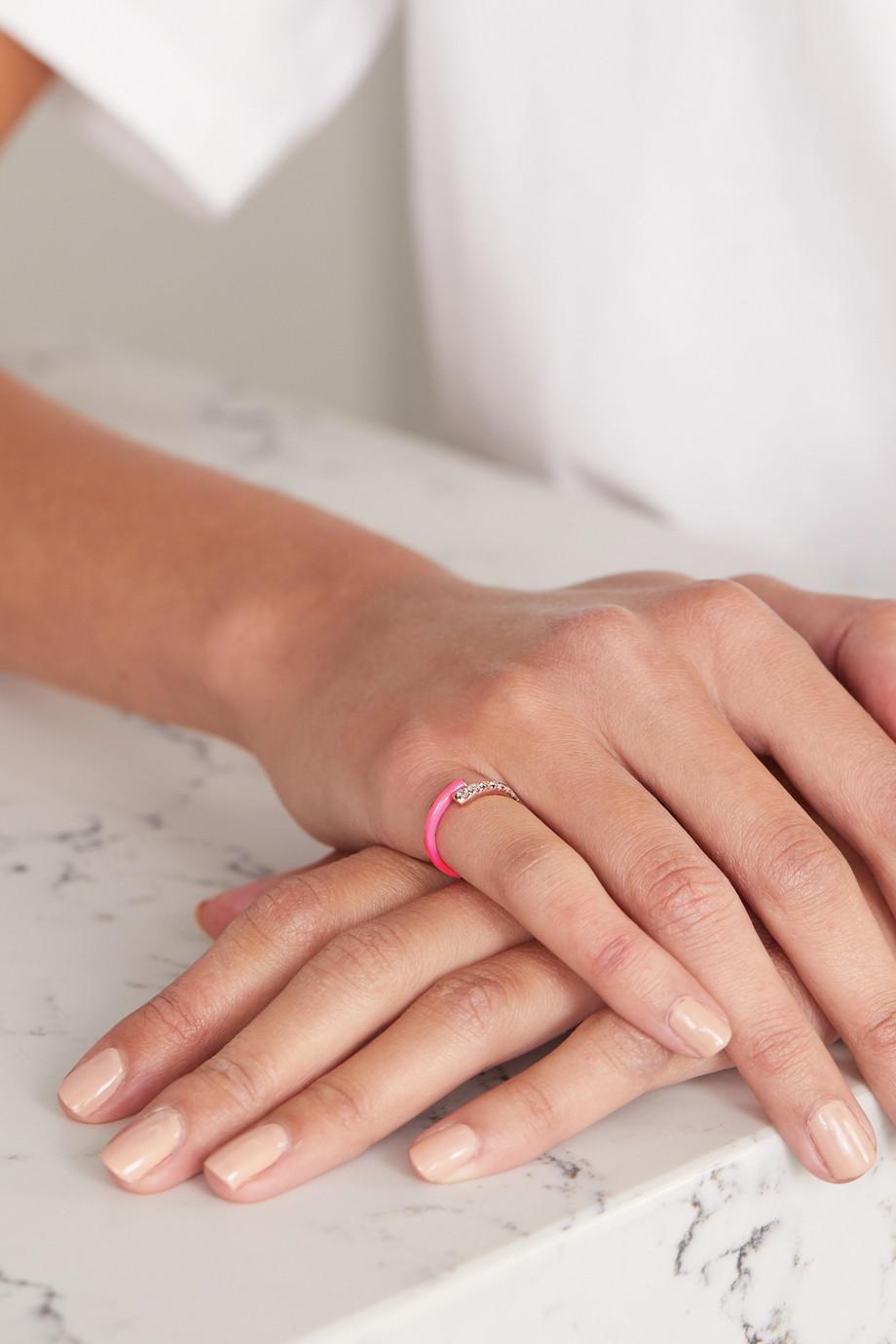 Melissa Kaye Lola 18-karat rose gold, diamond and enamel pinky ring
