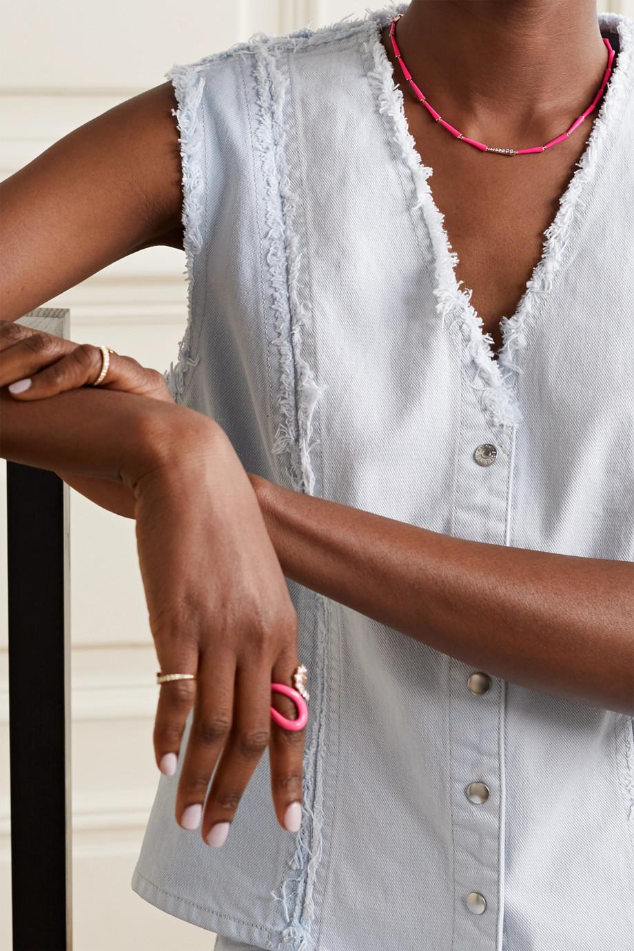 Melissa Kaye Lola 18-karat rose gold, diamond and neon enamel necklace