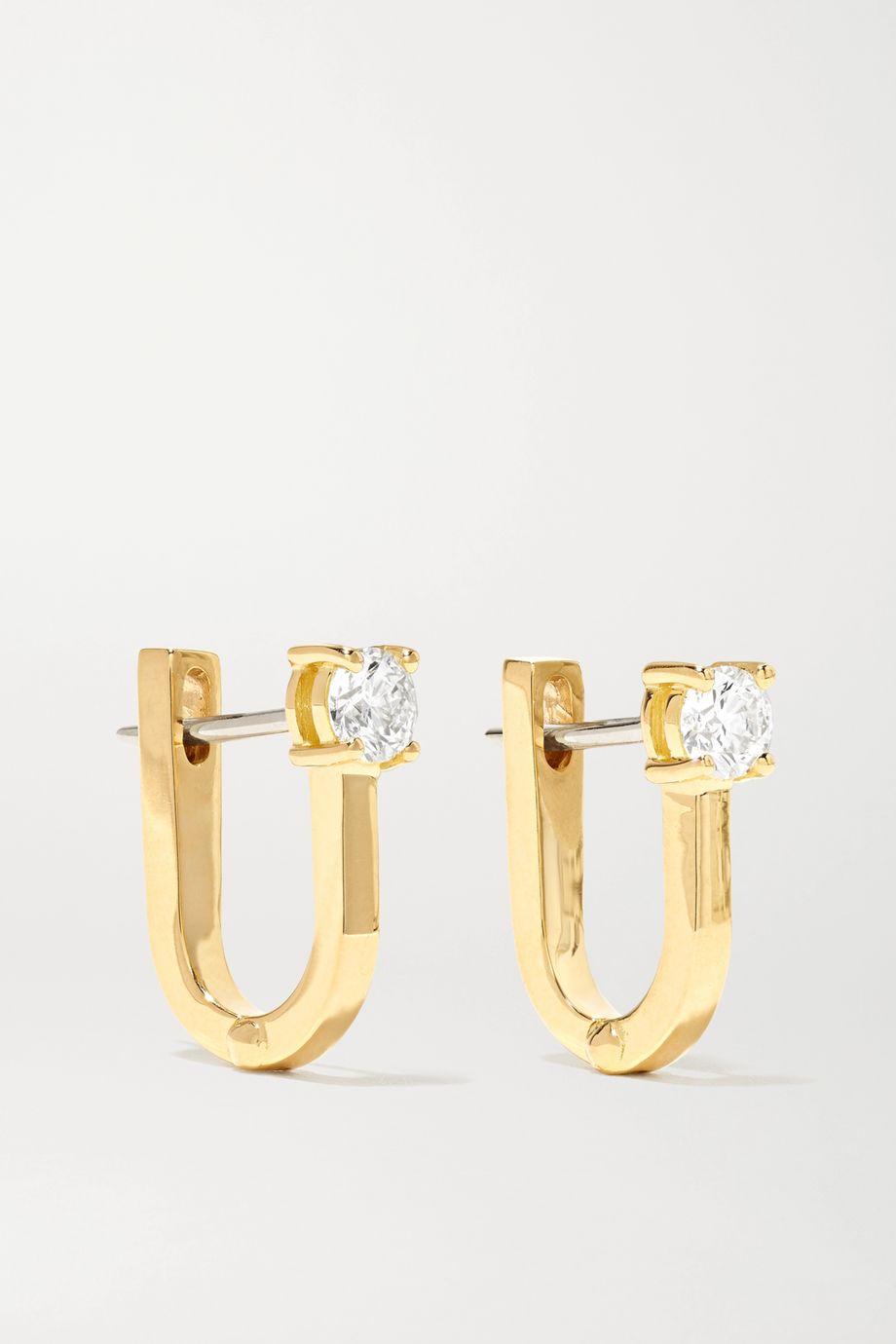 Melissa Kaye Aria U Huggie Ohrringe aus 18 Karat Gold mit Diamanten