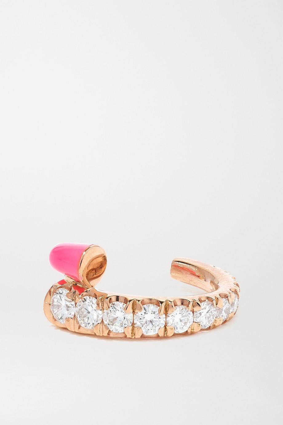 Melissa Kaye Lola 18-karat rose gold, enamel and diamond ear cuff