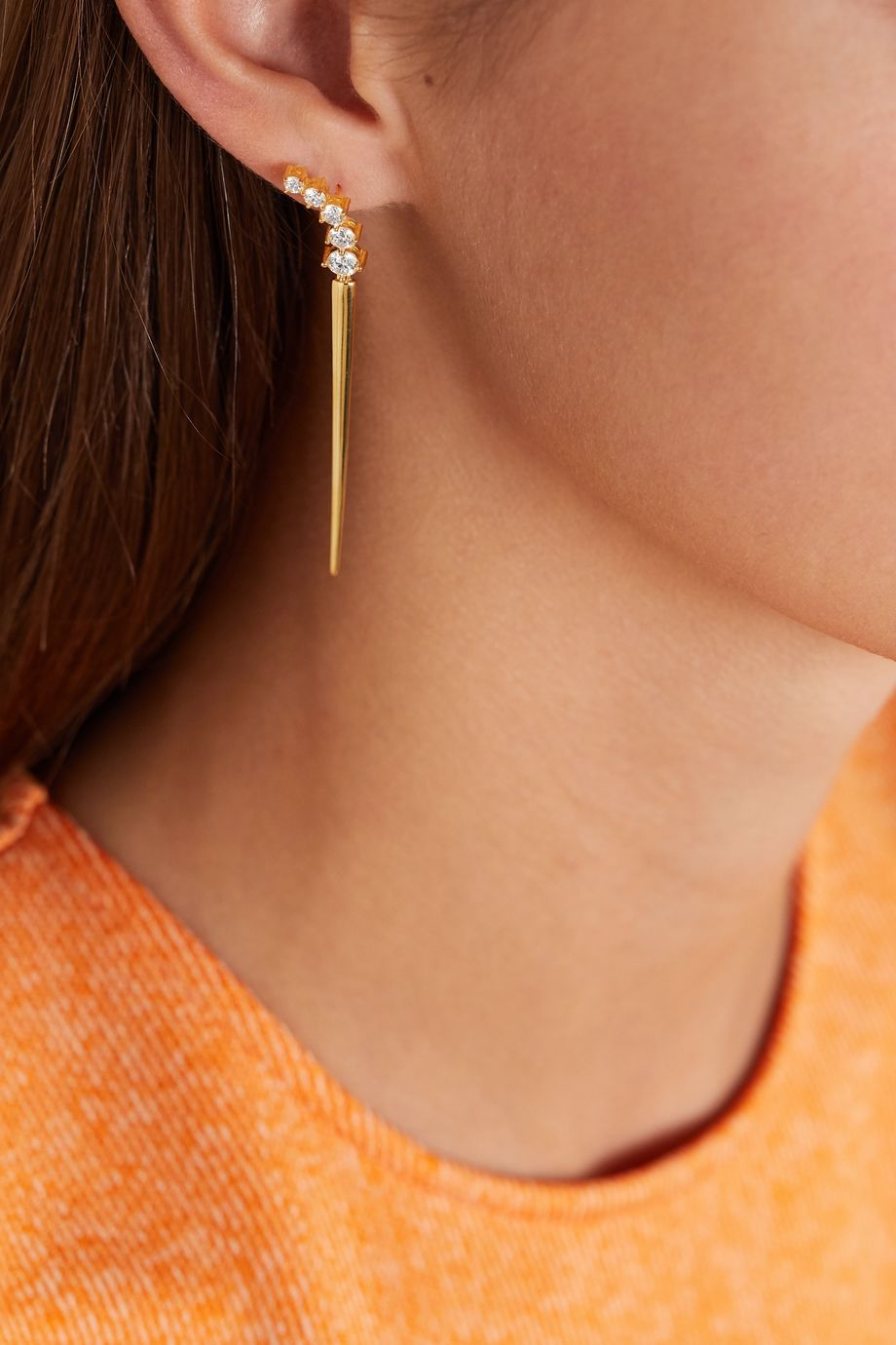 Melissa Kaye Aria Dagger Ohrringe aus 18 Karat Gold mit Diamanten