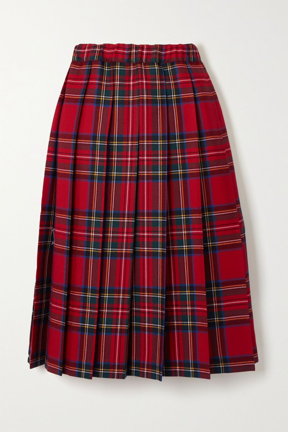 Comme des Garçons GIRL Pleated checked wool-twill skirt