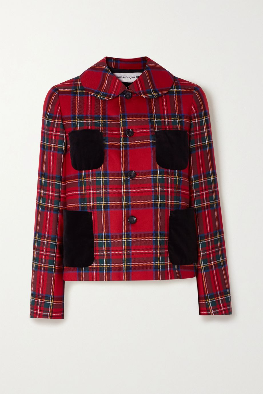Comme des Garçons GIRL Velvet-trimmed checked wool-twill jacket