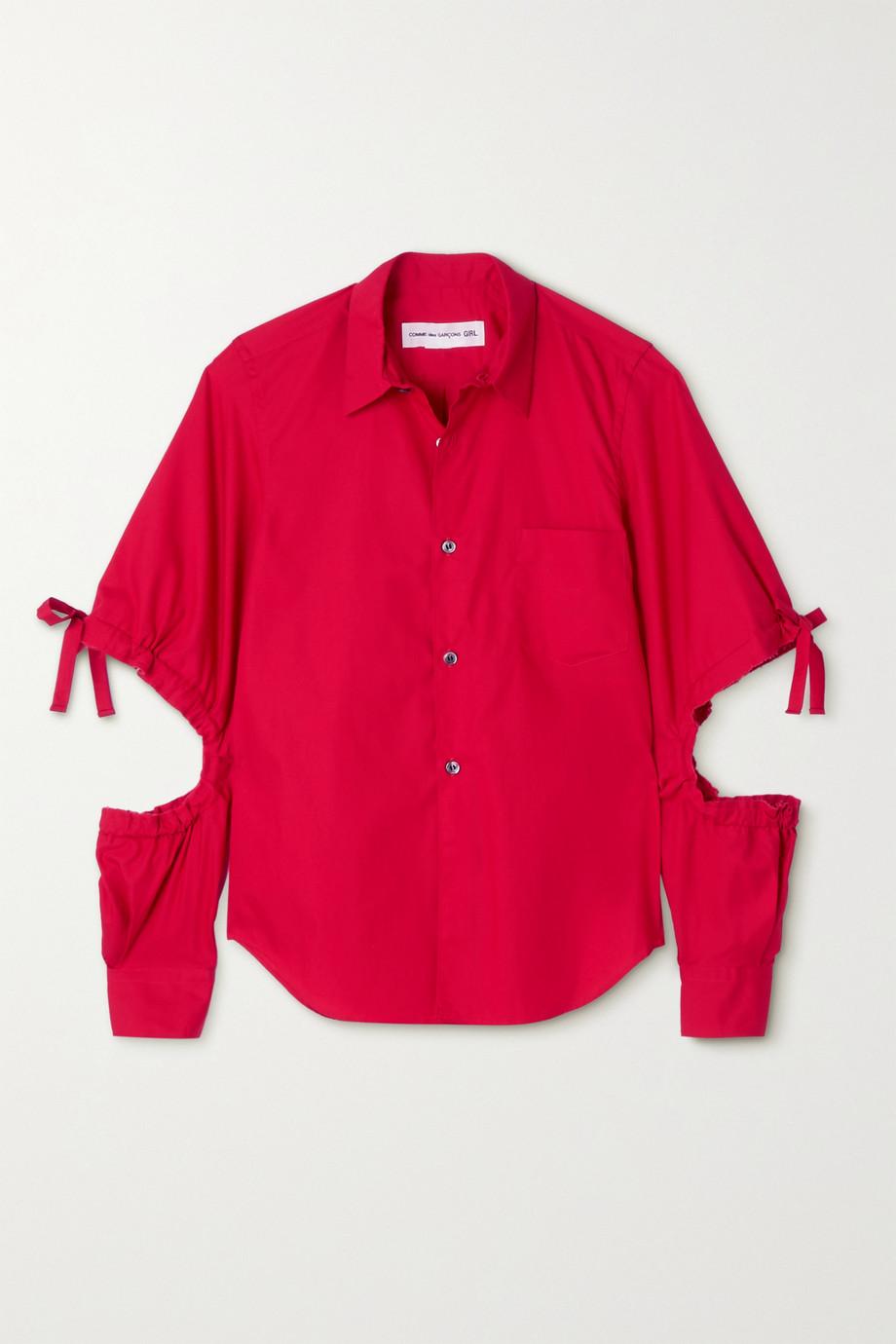 Comme des Garçons GIRL Hemd aus Baumwollpopeline mit Cut-outs zum Binden