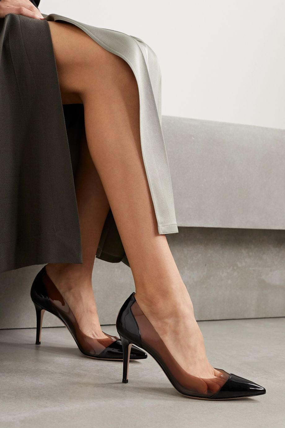 Gianvito Rossi Plexi 85 patent-leather and PVC pumps