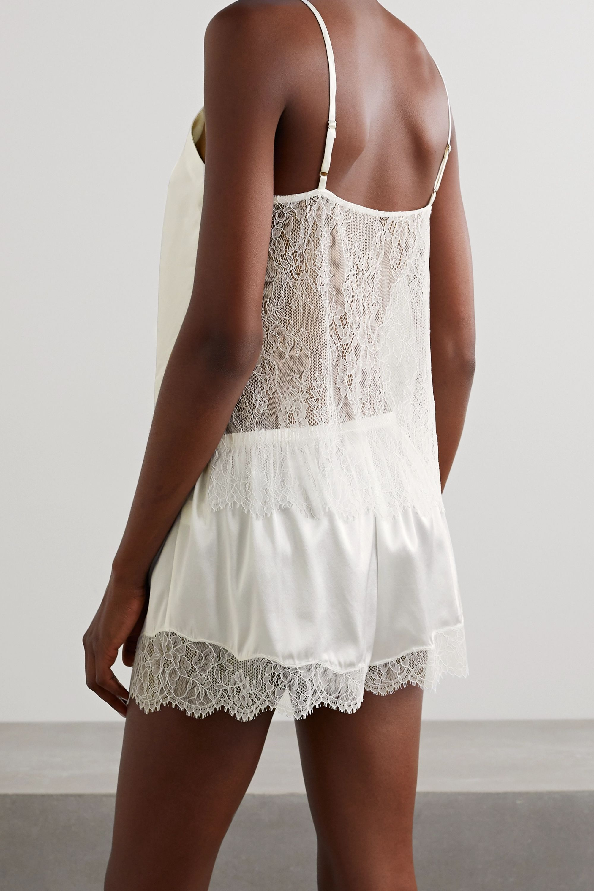 White The Perry Lace-trimmed Silk-blend Charmeuse Pajama Set   Cami Nyc