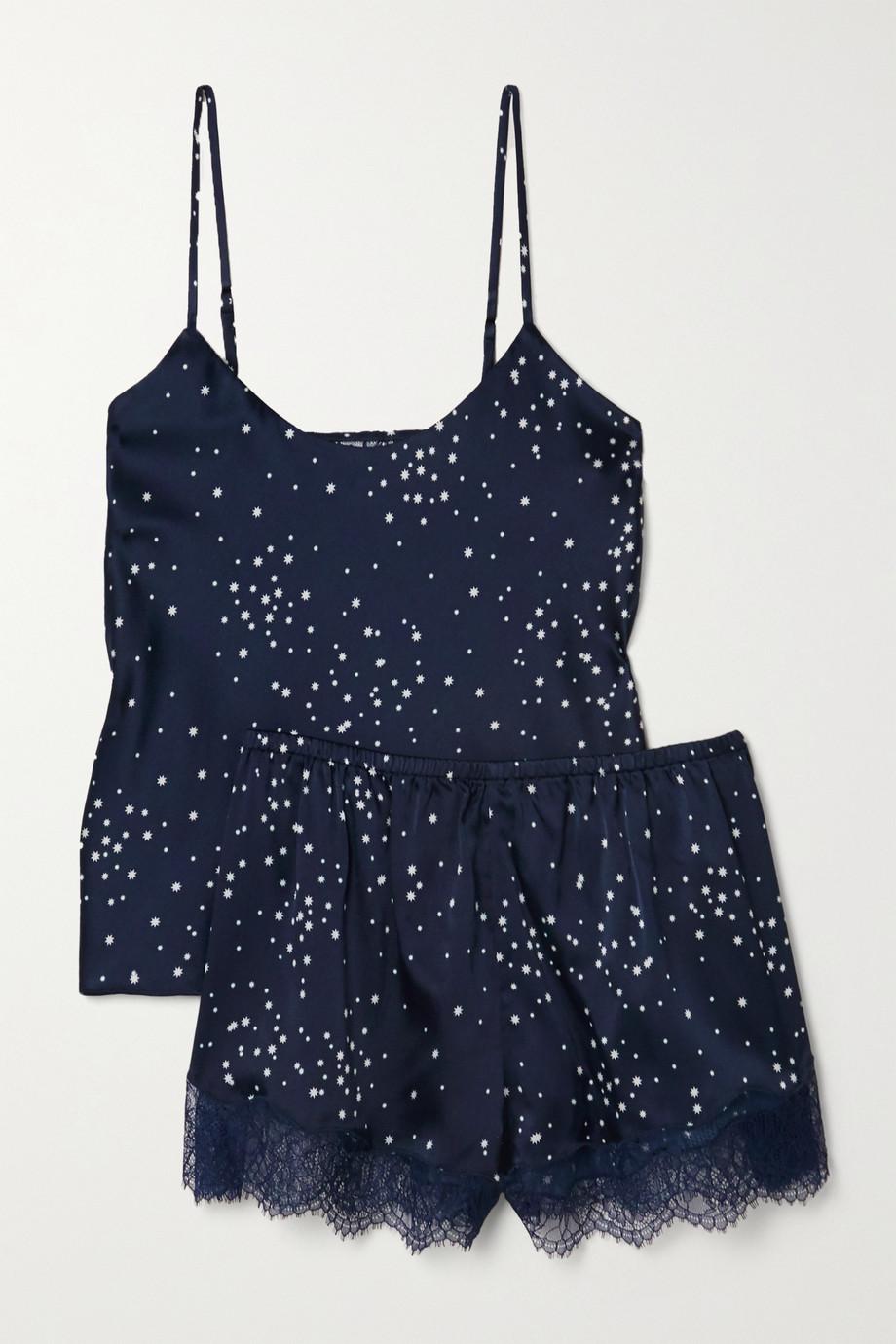 Cami NYC Pyjama en charmeuse de soie stretch imprimée à finitions en dentelle Perry