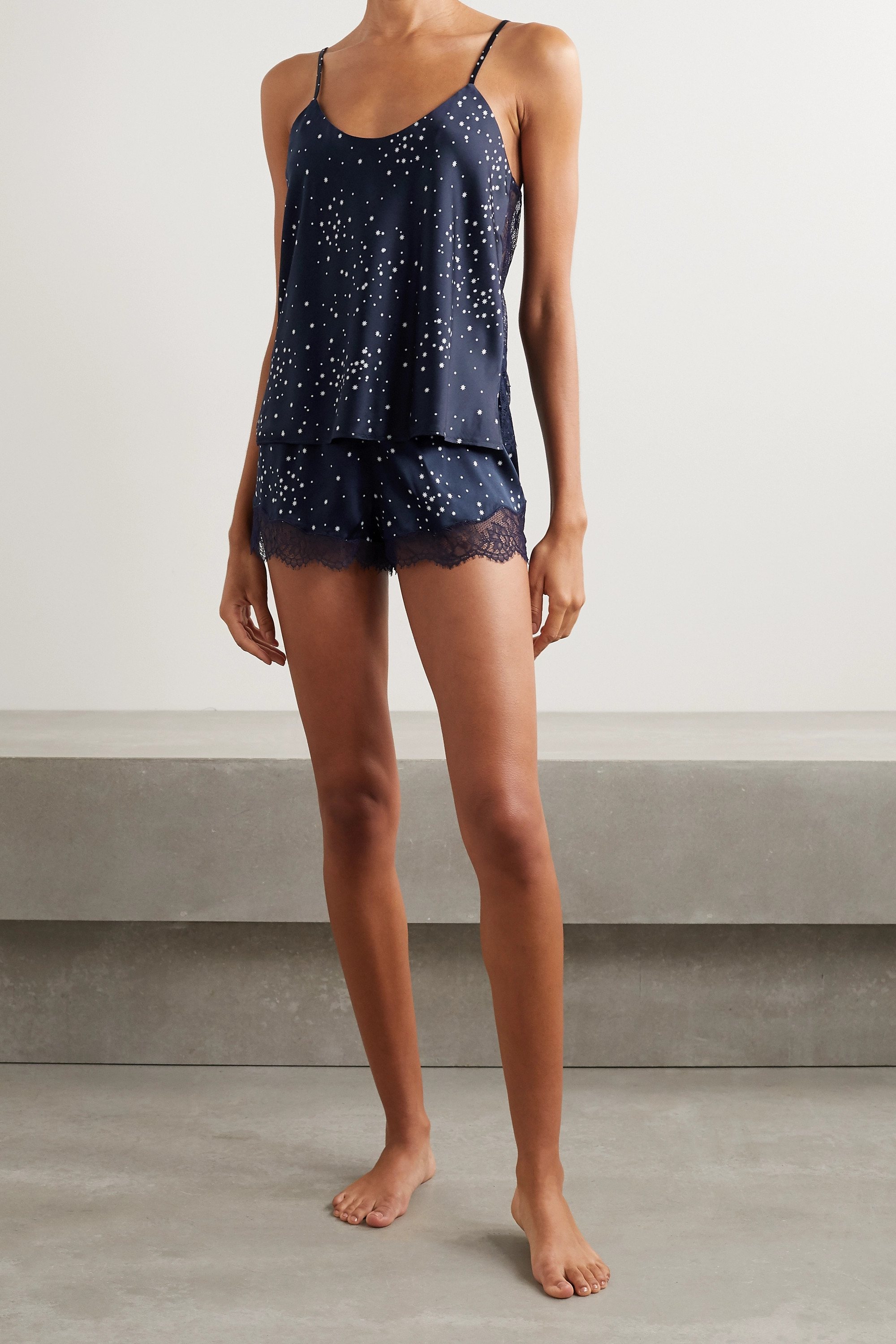 Cami NYC Perry lace-trimmed printed stretch-silk charmeuse pajama set