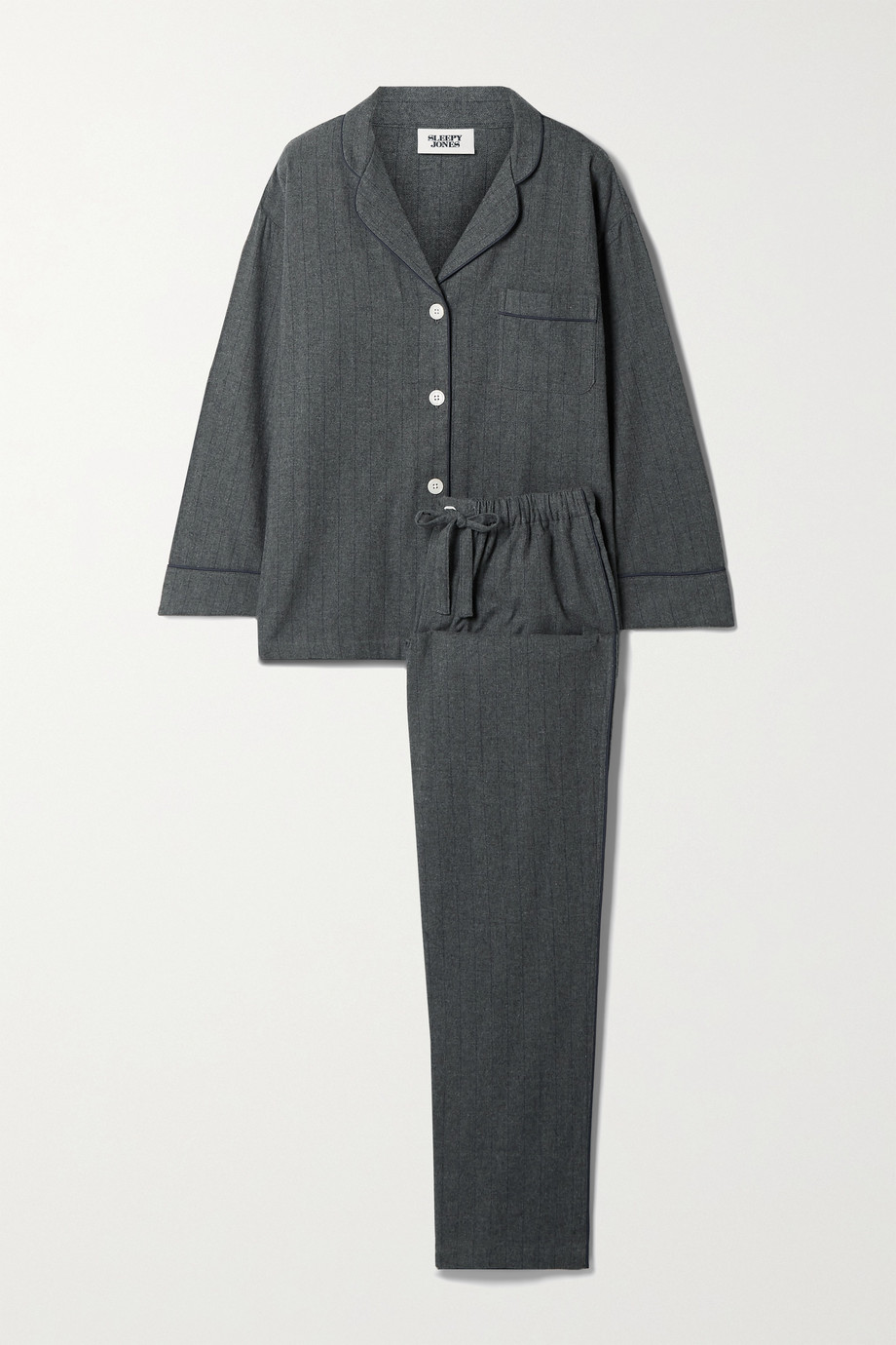 Sleepy Jones Marina pinstriped cotton-flannel pajama set