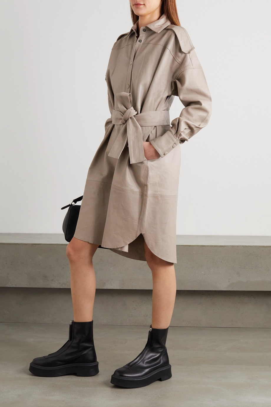 REMAIN Birger Christensen Lavare belted leather shirt dress
