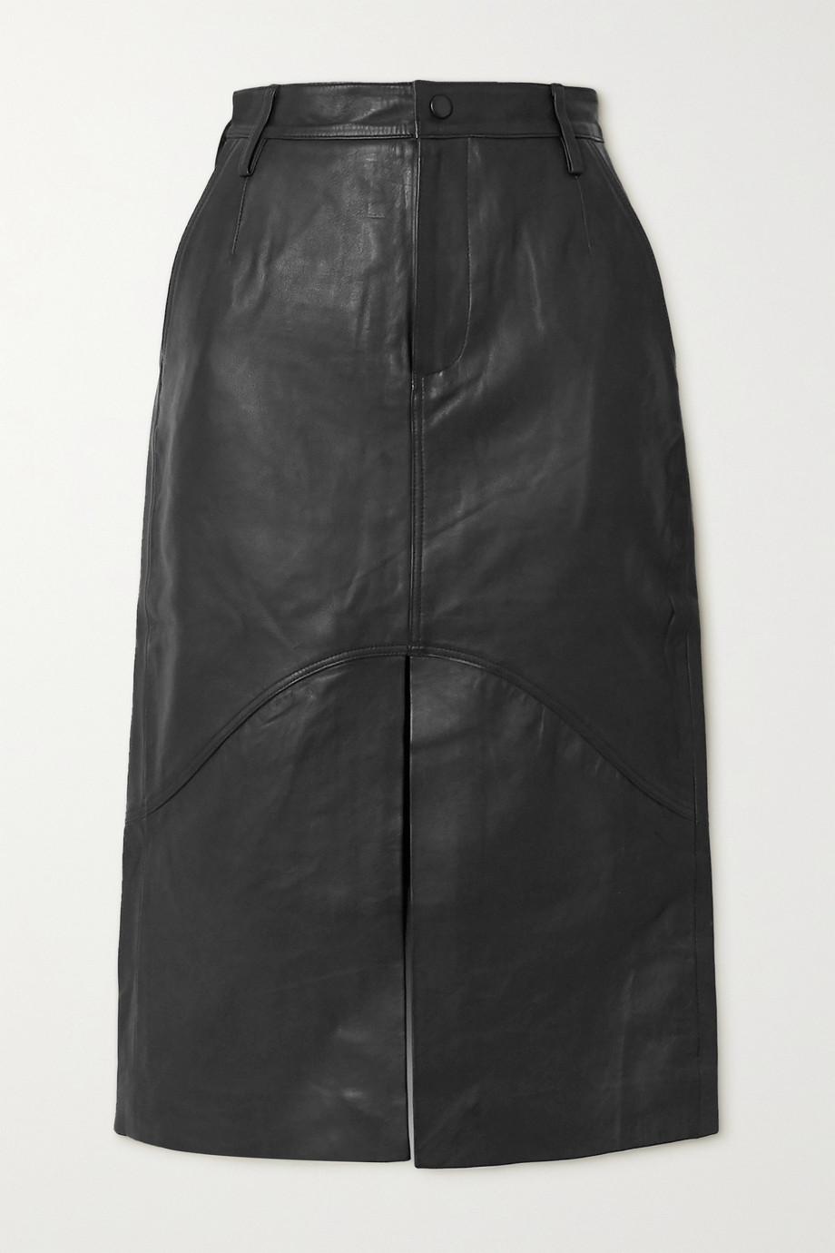 REMAIN Birger Christensen Bocca leather midi skirt