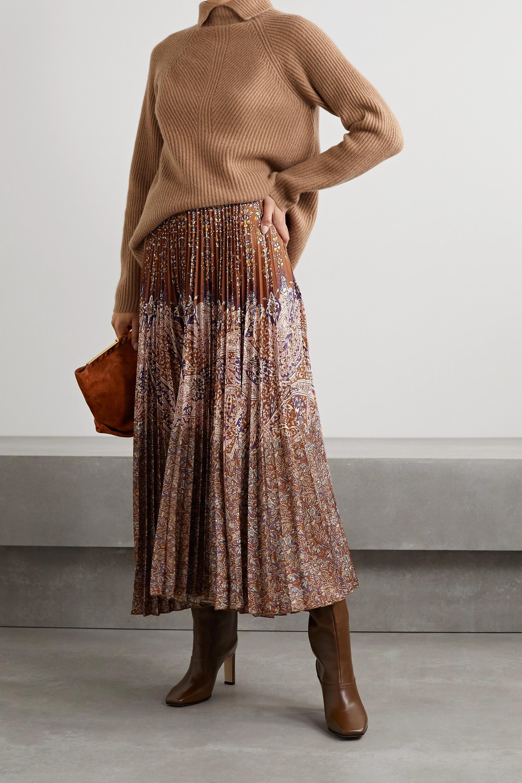 Vanessa Bruno Fadia pleated paisley-print crepe maxi skirt