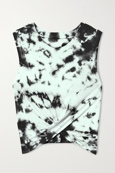 Year of Ours - Anne Marie Cropped Knotted Tie-dyed Cotton-jersey Tank
