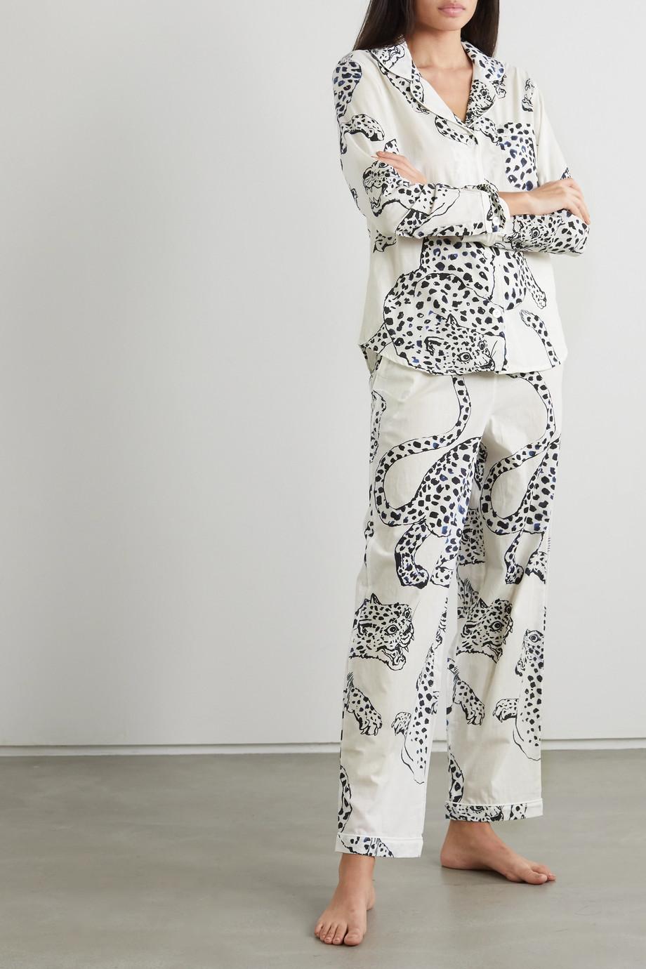 Desmond & Dempsey Jag printed organic cotton pajama set