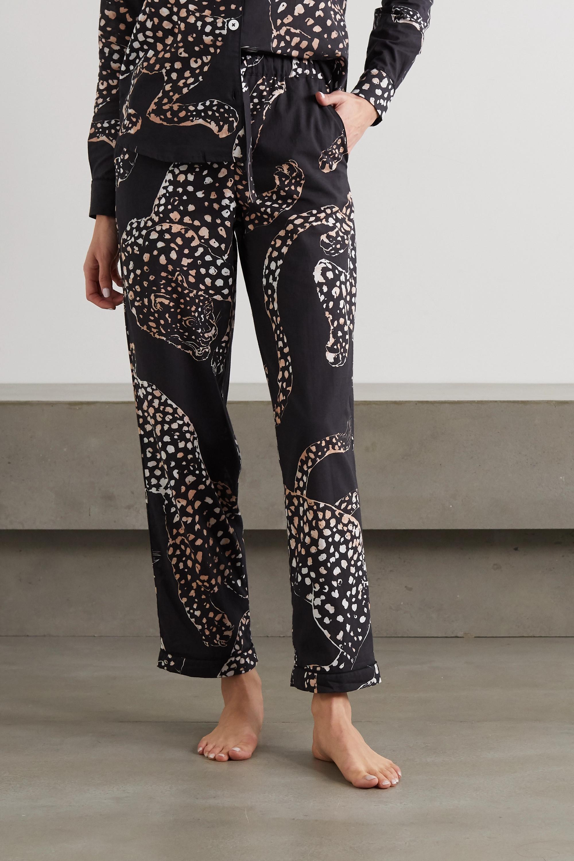 Desmond & Dempsey Jag animal-print organic cotton pajama set