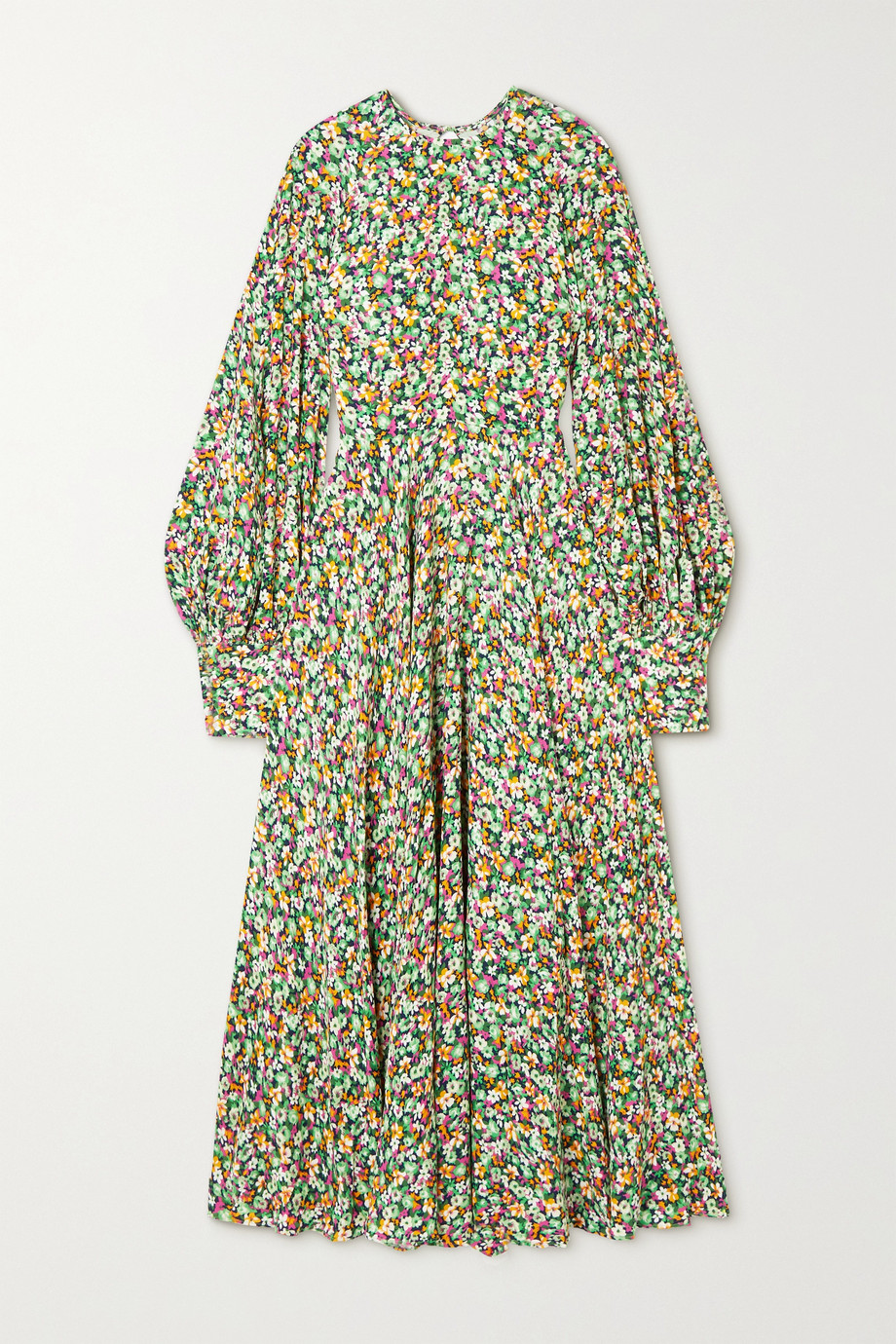 ROTATE Birger Christensen Mary open-back floral-print crepe maxi dress