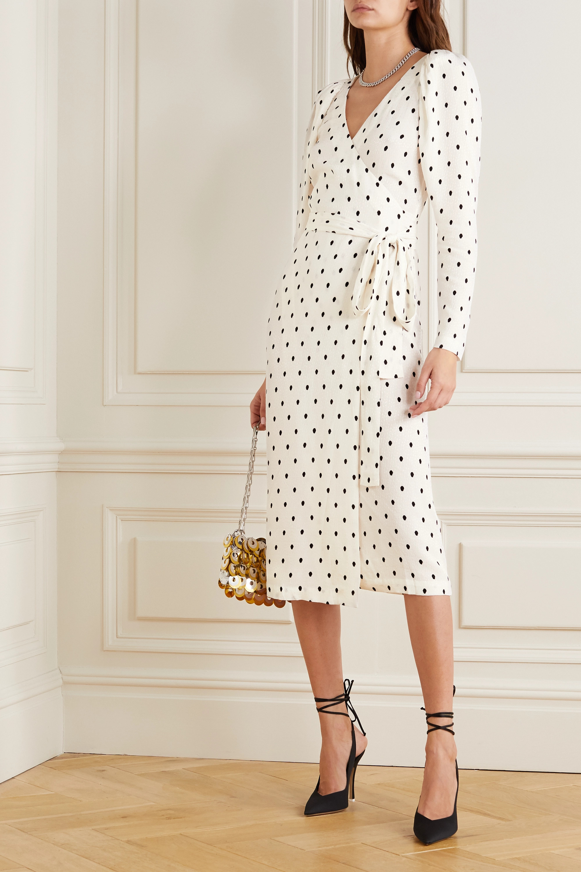 ROTATE Birger Christensen Bridget polka-dot satin-jacquard wrap midi dress
