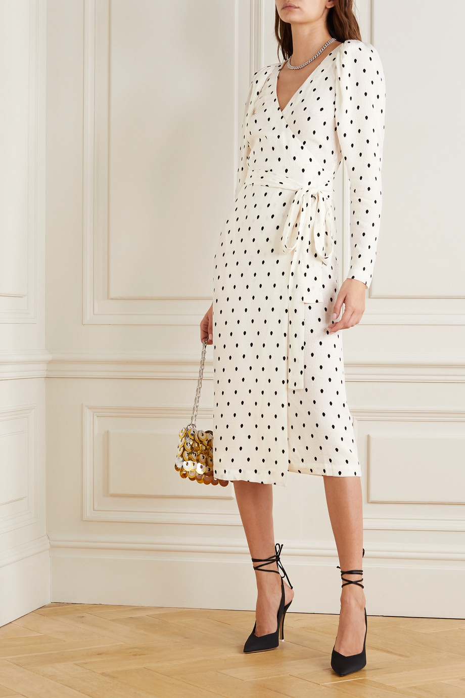 ROTATE Birger Christensen Bridget polka-dot satin-jacquard wrap midi dress