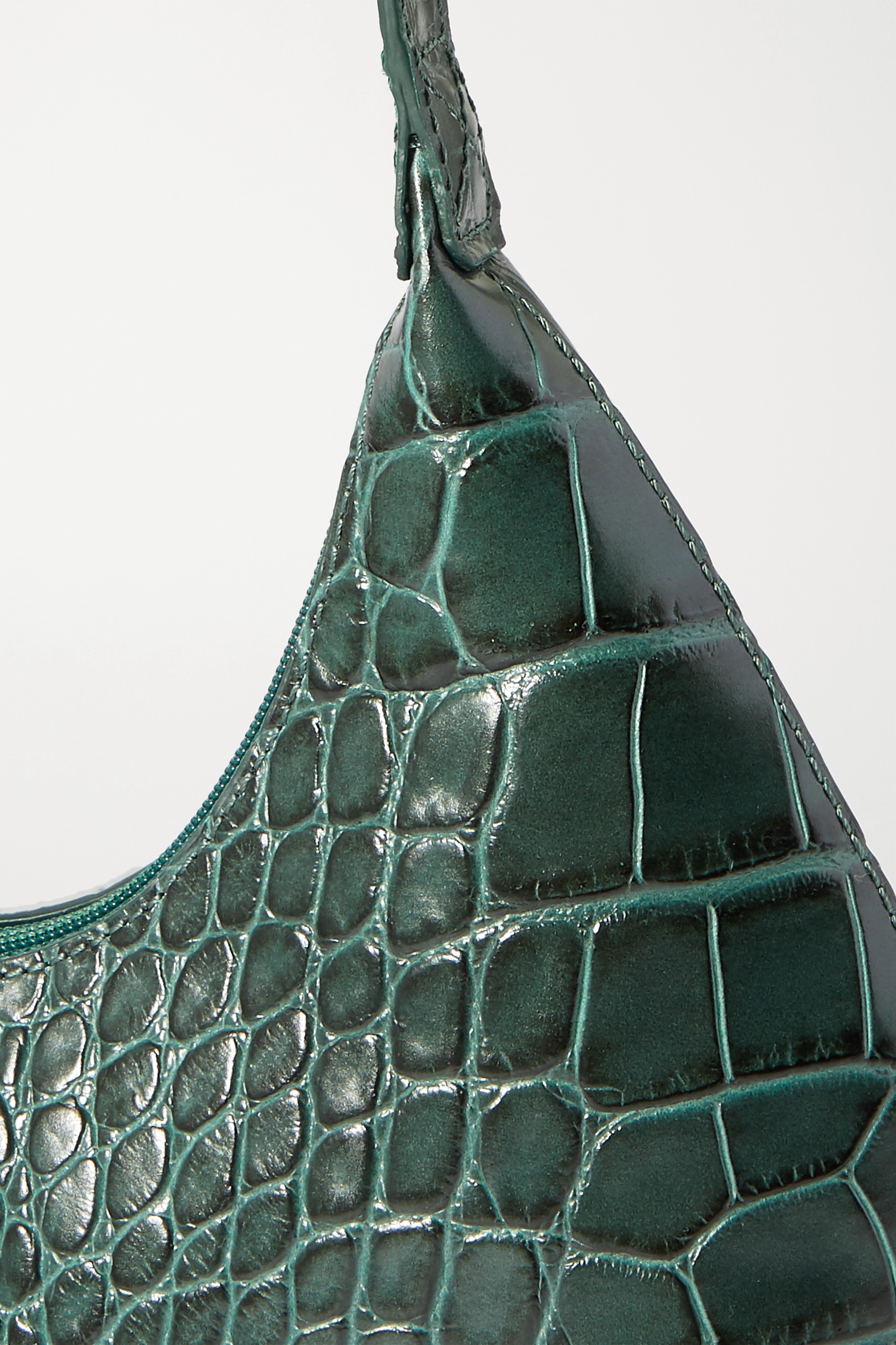 Dark Green Amber Baby Croc-effect Leather Tote | By Far