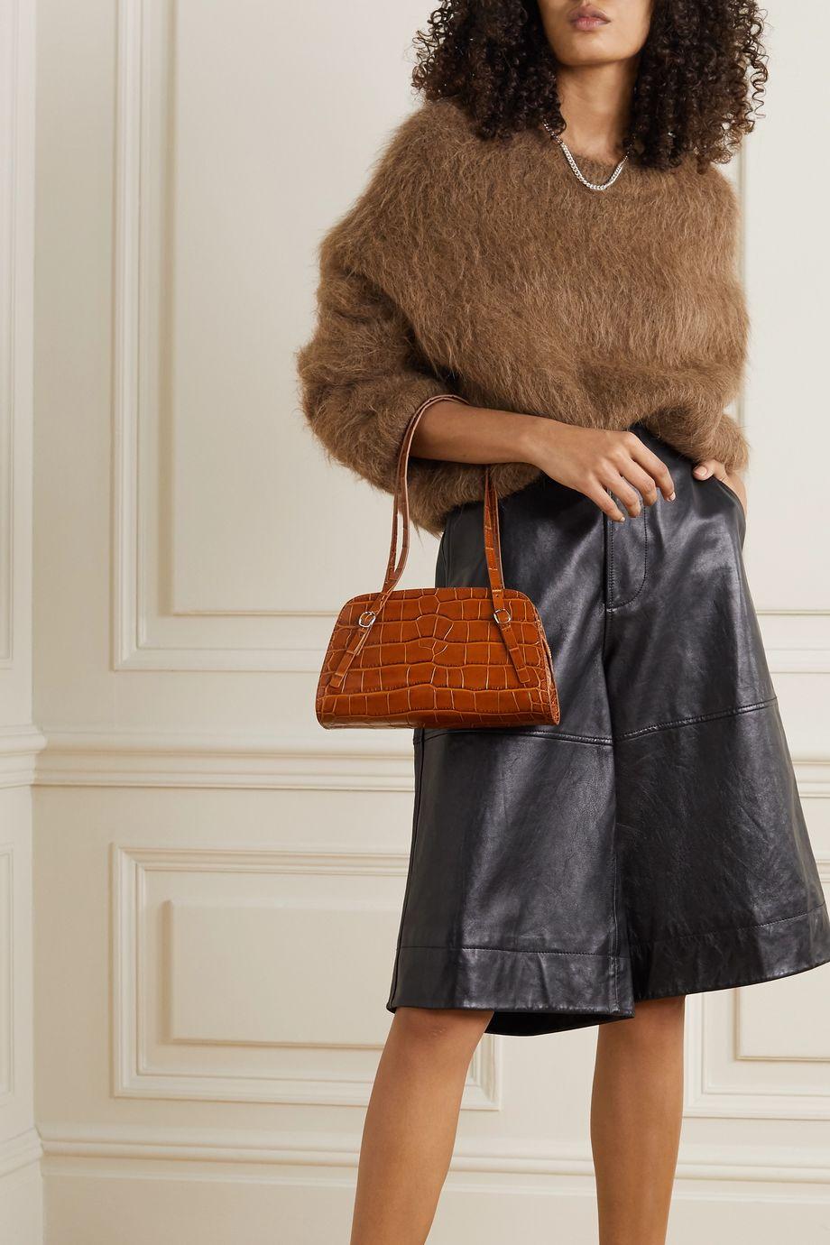 BY FAR Lora croc-effect leather shoulder bag