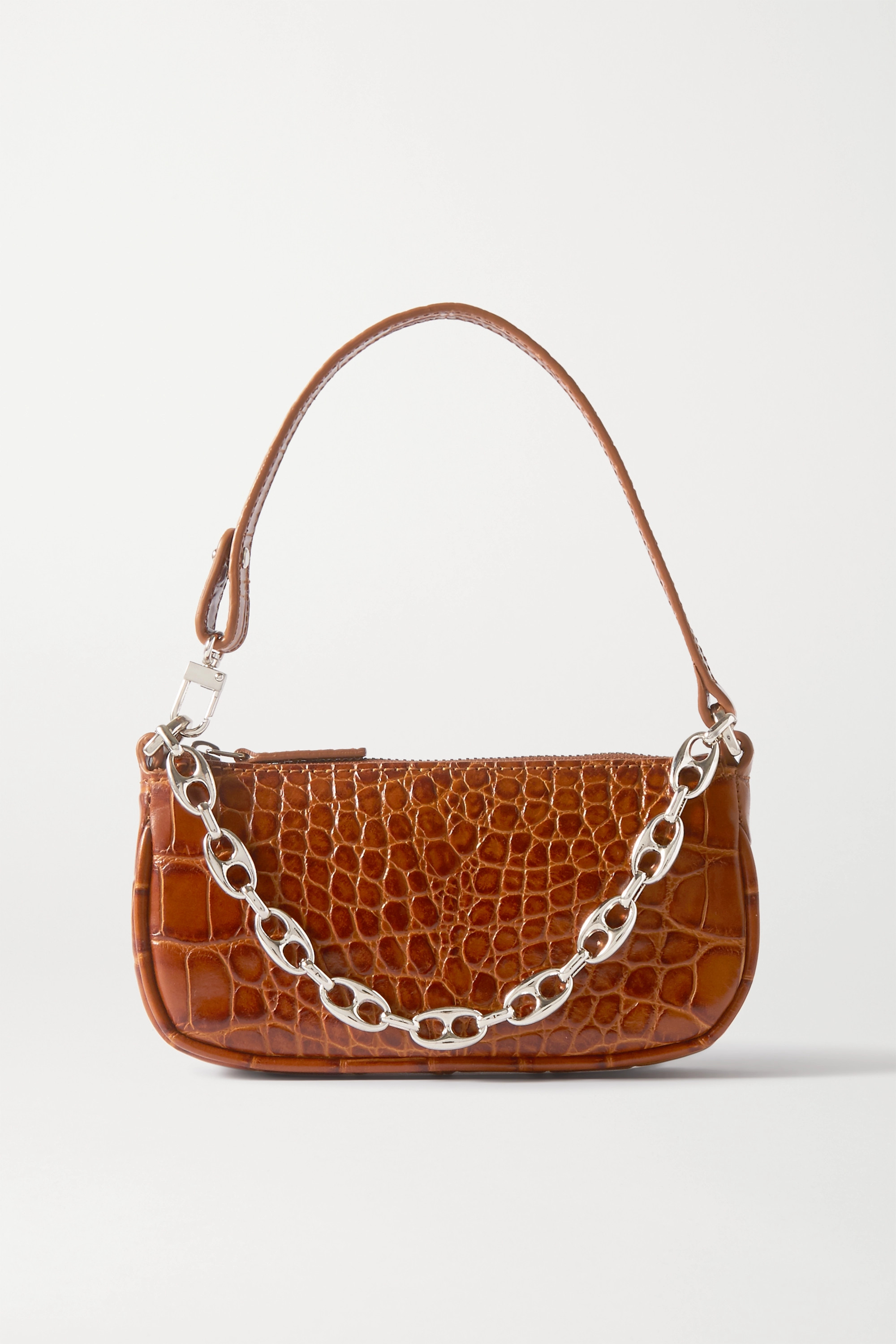 By Far Rachel Mini Chain-embellished Croc-effect Leather Shoulder Bag In Tan