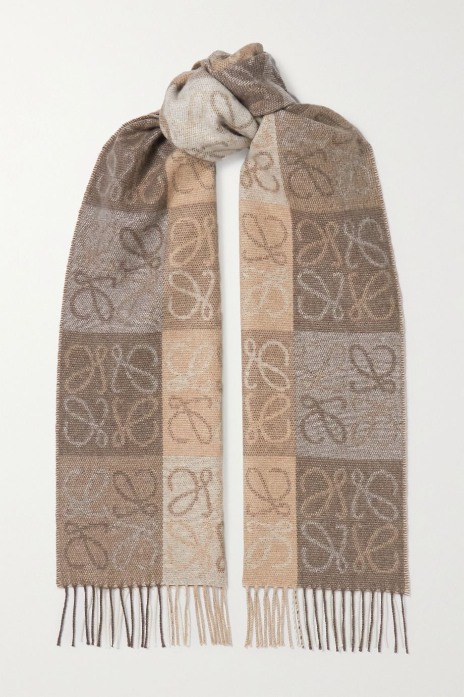 Loewe Fringed wool and cashmere-blend jacquard scarf