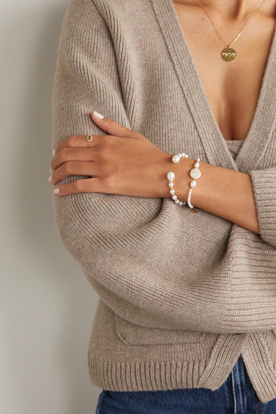 Anissa Kermiche Impromptu Armspange aus 14 Karat Gold mit Perlen