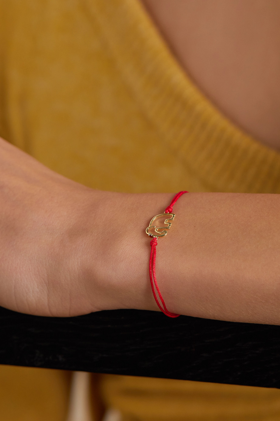 Yvonne Léon 18-karat gold, silk and diamond bracelet