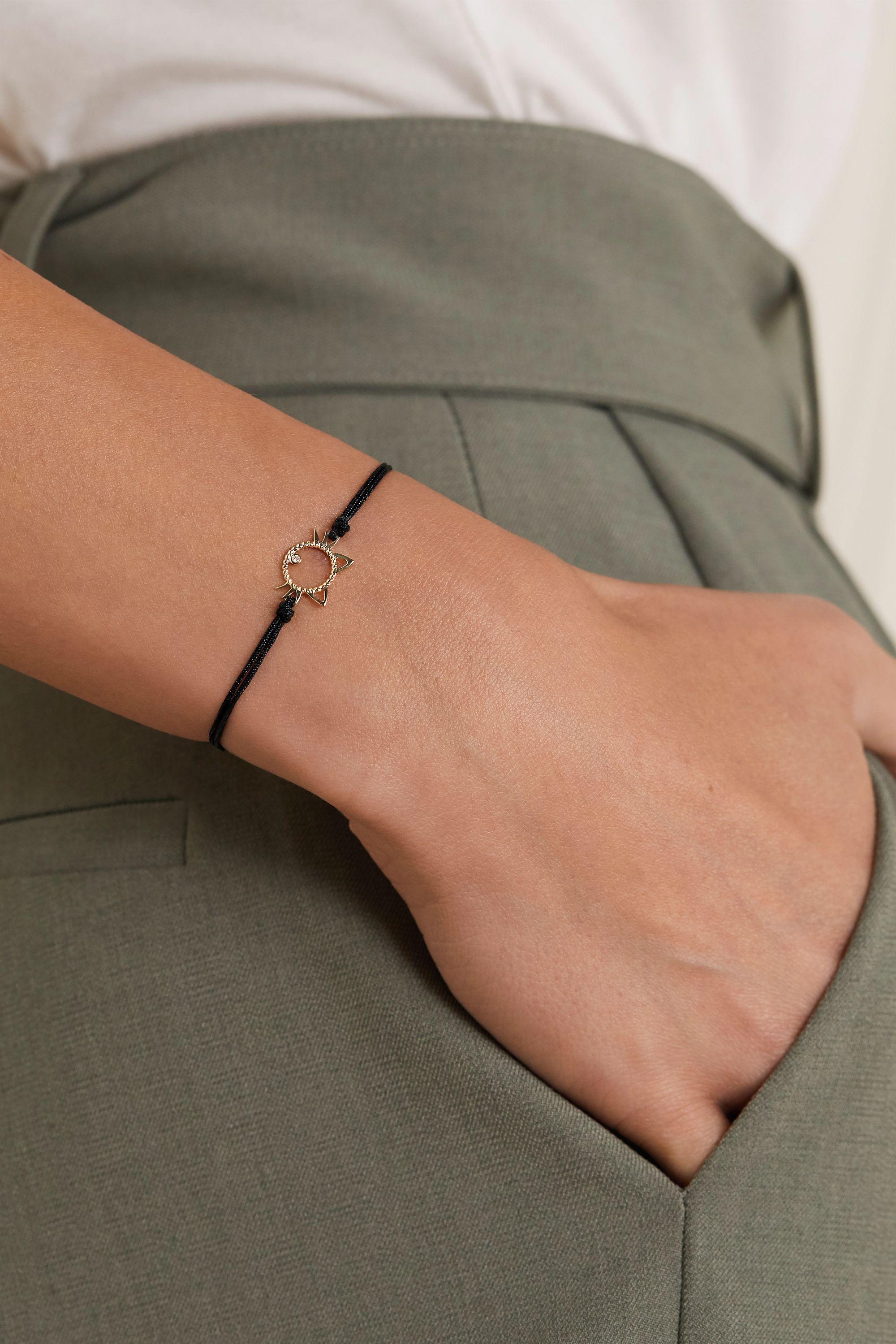 Yvonne Léon Armband aus Seide mit Detail aus 9 Karat Gold und Diamant