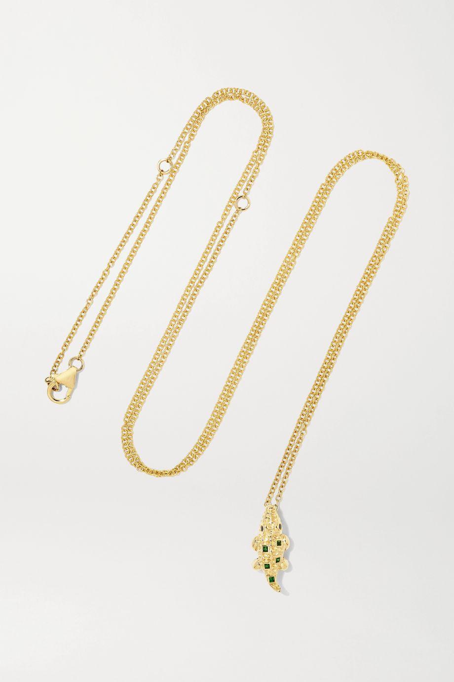 Yvonne Léon 9-karat gold, tsavorite and diamond necklace