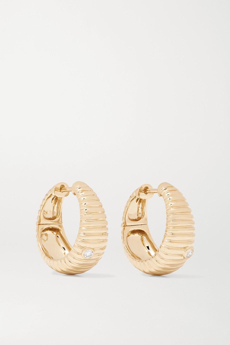 Yvonne Léon Boucles d'oreilles en or 9 carats et diamants