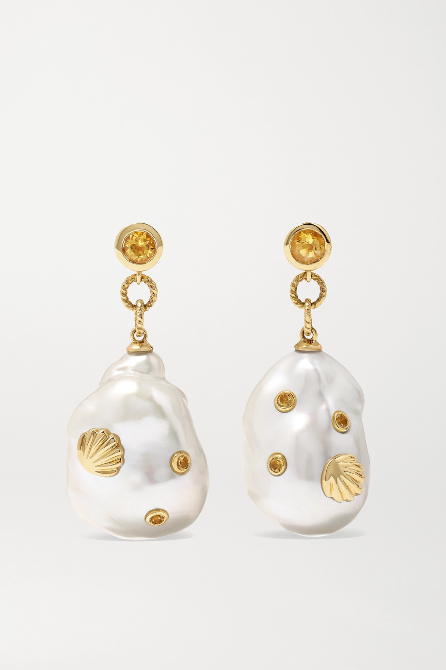 Yvonne Léon Boucles d'oreilles en or 9 carats, perles et citrines