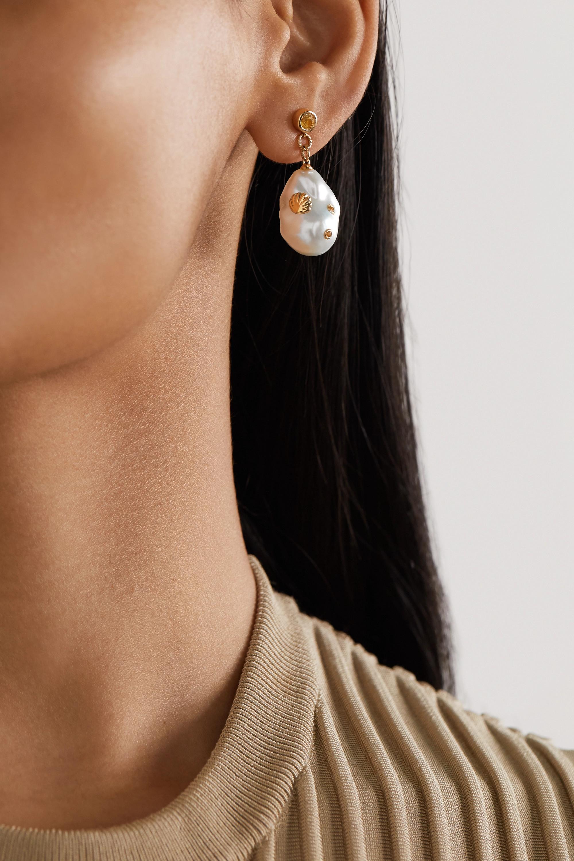 Yvonne Léon Ohrringe aus 9 Karat Gold mit Perlen und Citrinen