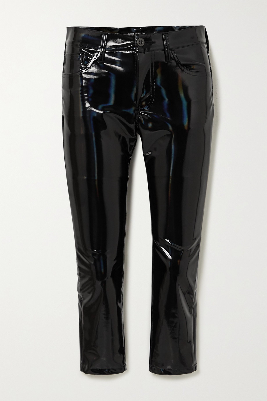 Junya Watanabe Cropped iridescent faux glossed-leather skinny pants