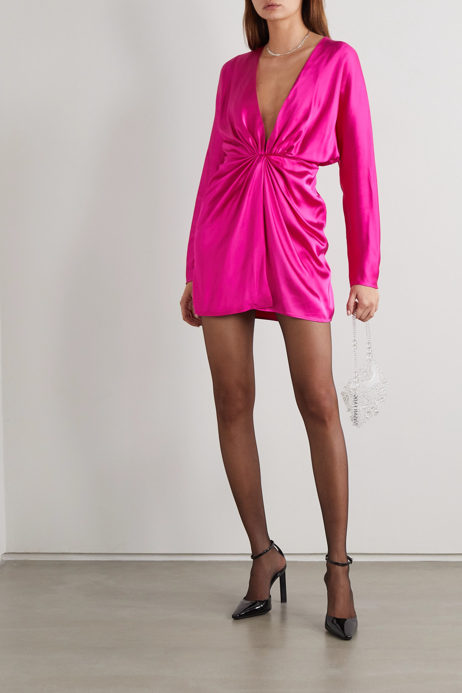 GAUGE81 Shibu gathered satin mini dress