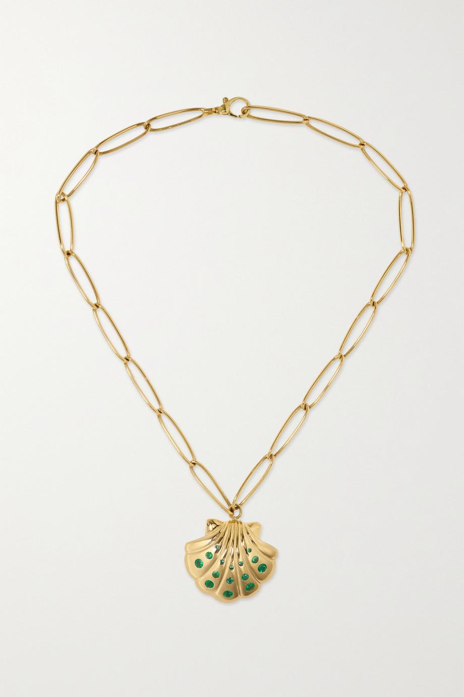 Brent Neale Shell Kette aus 18 Karat Gold mit Smaragden