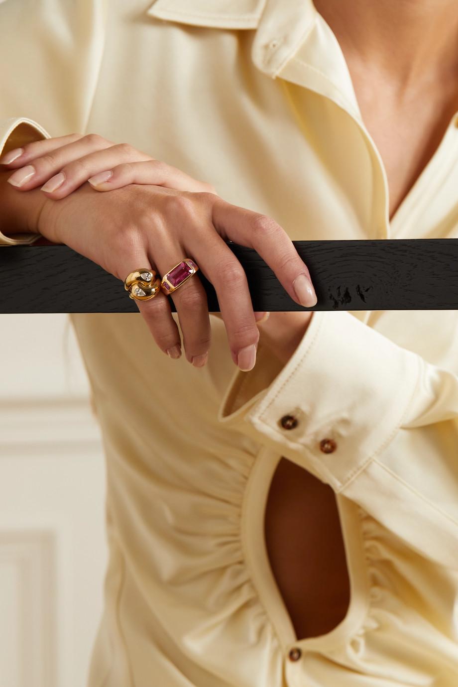 Brent Neale 18-karat gold, tourmaline and sapphire ring