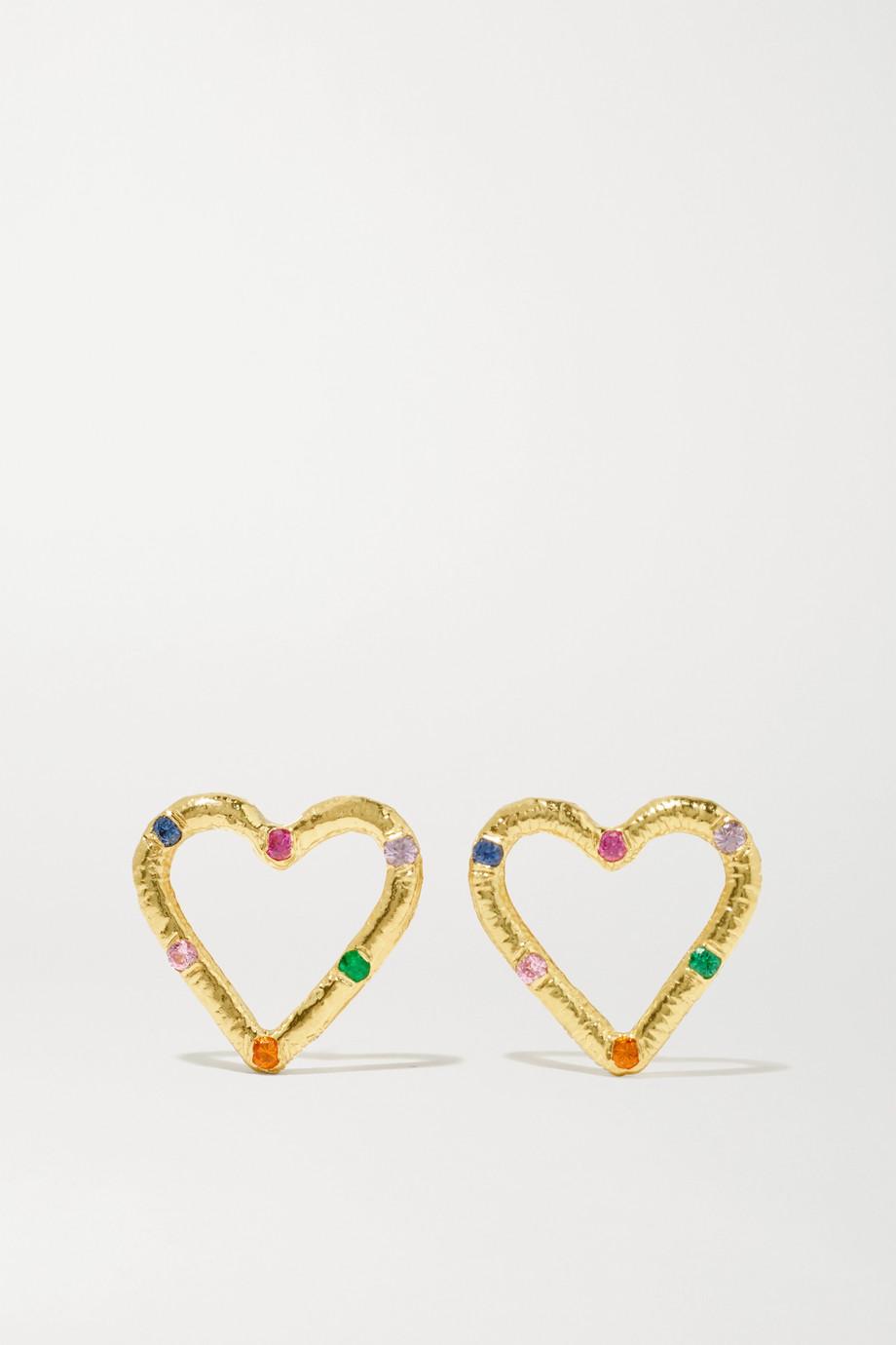 Brent Neale Mini Heart Ohrringe aus 18 Karat Gold mit Smaragden und Saphiren