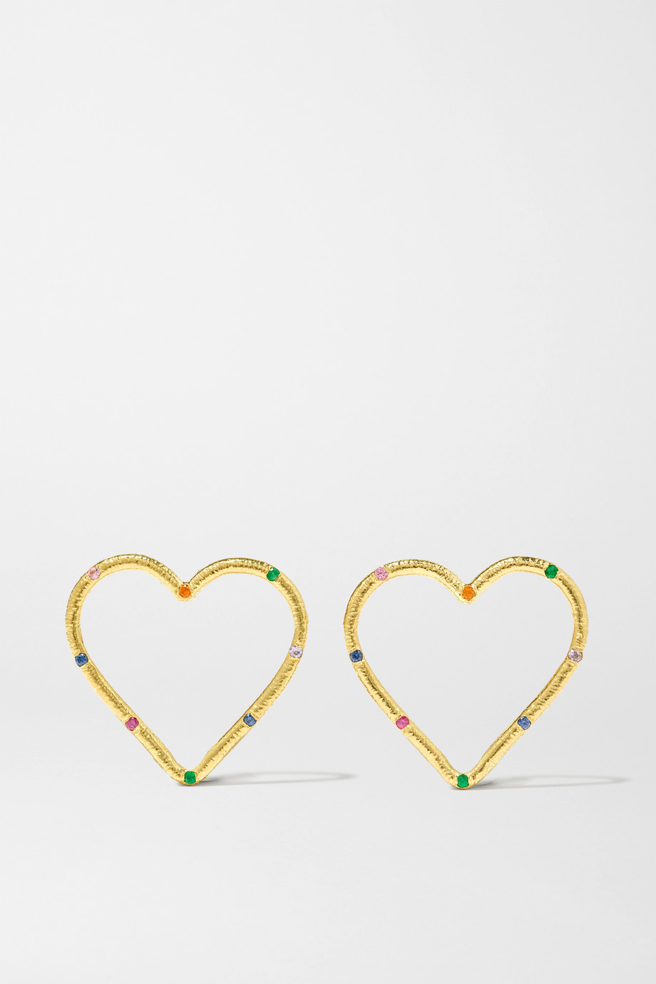 Brent Neale Large Heart 18-karat gold, sapphire and emerald earrings