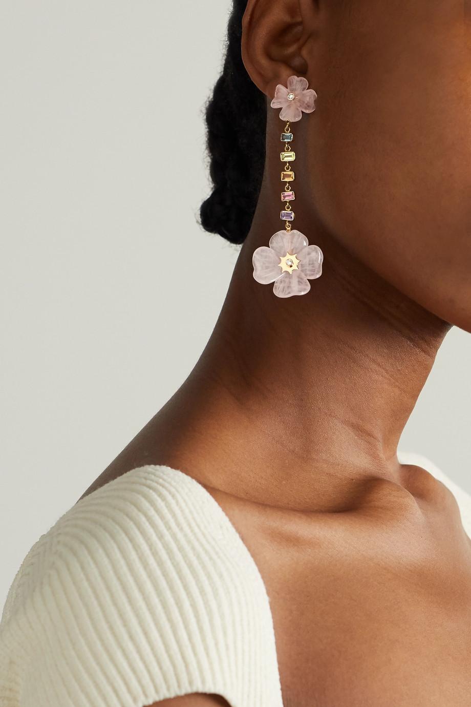 Brent Neale Double Clover 18-karat gold multi-stone earrings