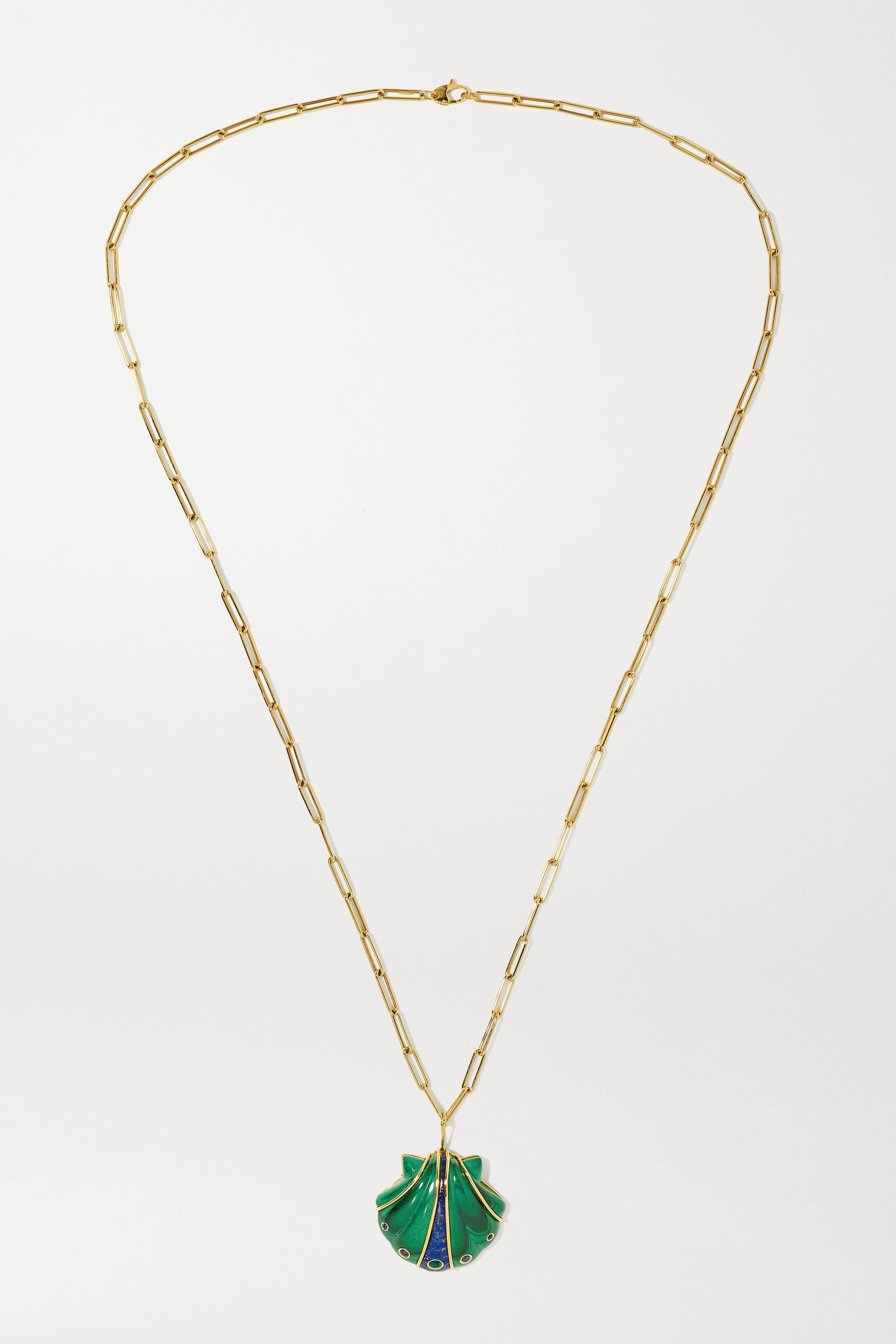 Brent Neale Shell 18-karat gold multi-stone necklace