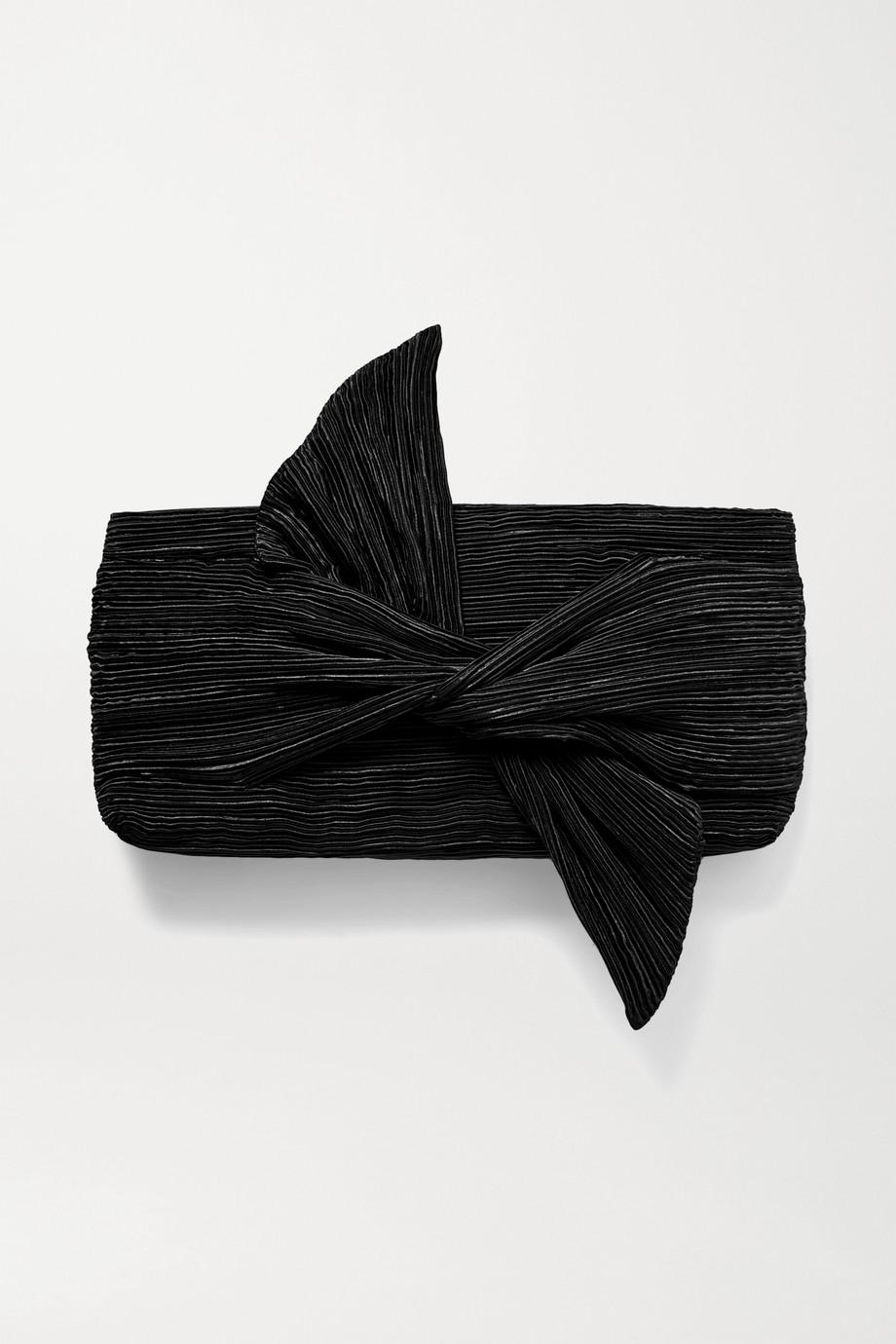 Cult Gaia Banu bow-embellished plissé-satin clutch
