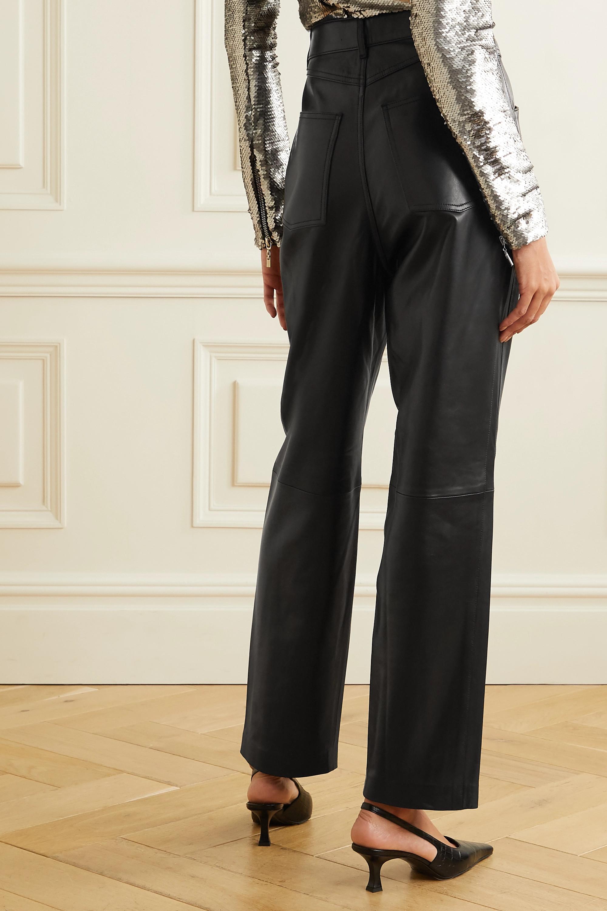IRO Pantalon droit en cuir à plis Heim