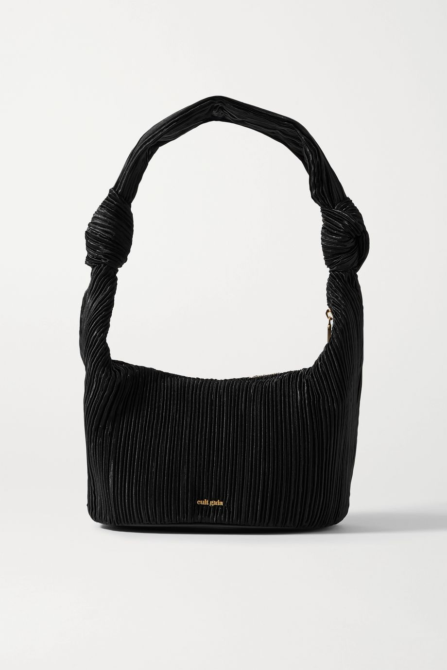 Cult Gaia Mina knotted pleated satin shoulder bag